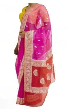 Pink & Orange Chiffon Saree With Banarasi Design-yespoho