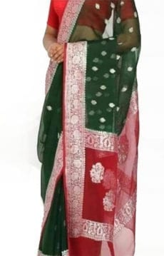 Dark Green & Red Chiffon Saree With Banarasi Design-yespoho