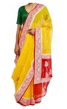 Yellow & Red Chiffon Saree With Banarasi Design-yespoho