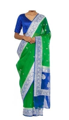 Green & Blue Chiffon Saree With Banarasi Design-yespoho
