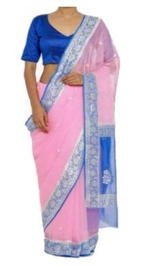 Light Pink & Blue Chiffon Saree With Banarasi Design-yespoho