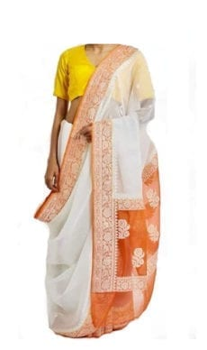 White & Orange Chiffon Saree With Banarasi Design-yespoho