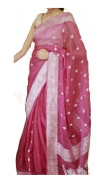 Dark Pink Chiffon Saree With Banarasi Design-yespoho