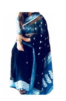 Dark Blue & Light Blue Chiffon Saree With Banarasi Design-yespoho