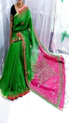 Dark Green & Pink Silk Cotton Saree Mirror Work-yespoho