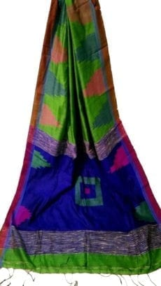 Green & Dark Blue Box Silk Cotton Saree With Temple Border-yespoho