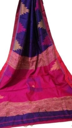Violet & Dark Pink Box Silk Cotton Saree With Temple Border-yespoho