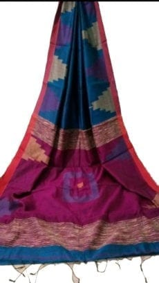 Violet & Rani Box Silk Cotton Saree With Temple Border-yespoho