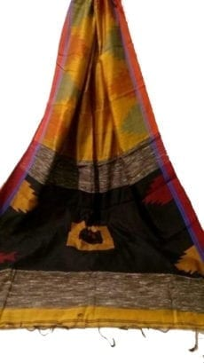 Mustard Yellow & Black Box Silk Cotton Saree With Temple Border-yespoho