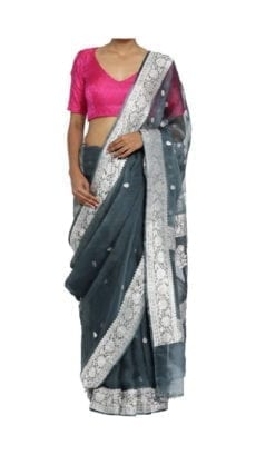 Dark Grey Chiffon Saree With Banarasi Design-yespoho