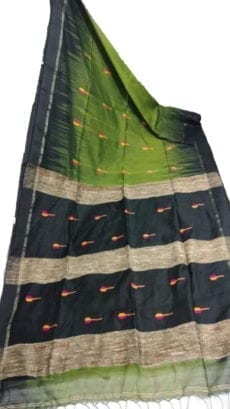 Pista Green & Black Ikkat Silk Saree-yespoho
