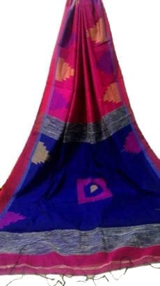 Pink & Violet Box Silk Cotton Saree With Temple Border-yespoho