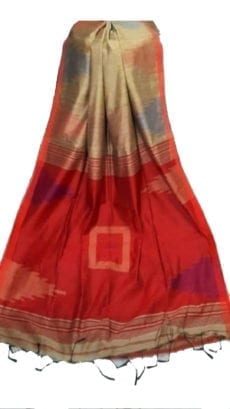 Dark Red & Cream Box Silk Cotton Saree With Temple Border-yespoho