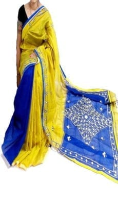 Lemon Yellow & Dark Blue Silk Cotton Saree Mirror Work-yespoho