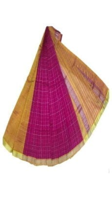 Dark Pink & Mustard Yellow Mangalagiri Silk Cotton Saree-yespoho