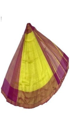 Bright Yellow & Purple Mangalagiri Silk Cotton Saree-yespoho