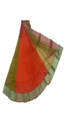 Bright Orange & Green Mangalagiri Silk Cotton Saree-yespoho