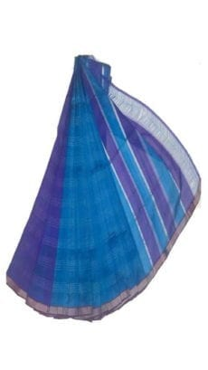 Sky Blue & Dark Blue Mangalagiri Silk Cotton Saree-yespoho