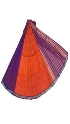 Orange & Purple Yellow Mangalagiri Silk Cotton Saree-yespoho