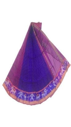 Dark Blue & Violet Mangalagiri Silk Cotton Saree with Ikkat Border-yespoho