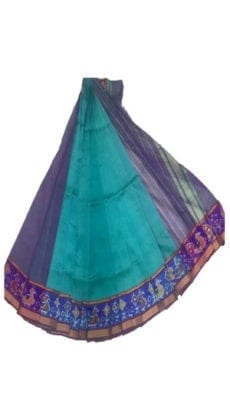 Sea Green & Violet Mangalagiri Silk Cotton Saree with Ikkat Border-yespoho