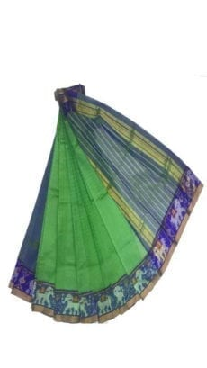 Light Green & Blue Mangalagiri Silk Cotton Saree with Ikkat Border-yespoho