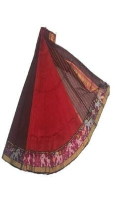 Red & Violet Mangalagiri Silk Cotton Saree with Ikkat Border-yespoho