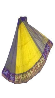 Bright Yellow & Dark Blue Mangalagiri Silk Cotton Saree with Ikkat Border-yespoho