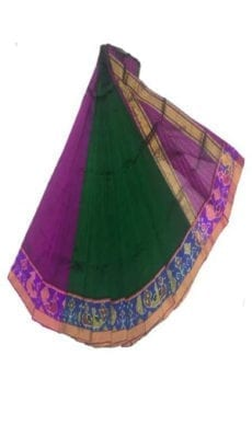 Dark Green & Violet Mangalagiri Silk Cotton Saree with Ikkat Border-yespoho