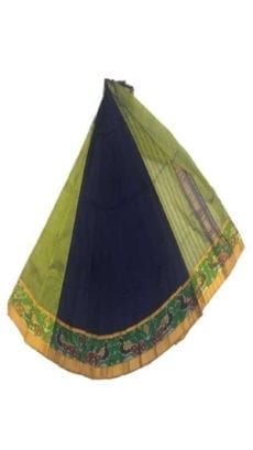 Dark Blue & Green Mangalagiri Silk Cotton Saree with Ikkat Border-yespoho