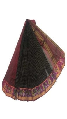 Black & Maroon Mangalagiri Silk Cotton Saree with Ikkat Border-yespoho