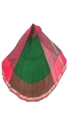 Dark Green & Red Mangalagiri Silk Cotton Saree-yespoho