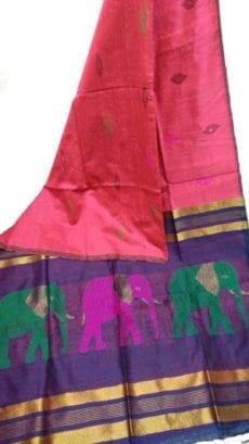 Green & Rani Silk Cotton Saree With Jamdhani Design-yespoho