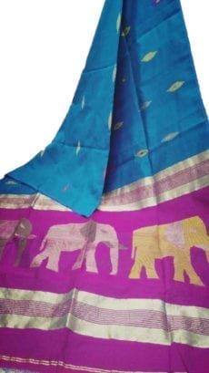 Blue & Pink Silk Cotton Saree With Jamdhani Design-yespoho