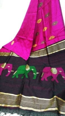 Dark Pink & Purple Silk Cotton Saree With Jamdhani Design-yespoho