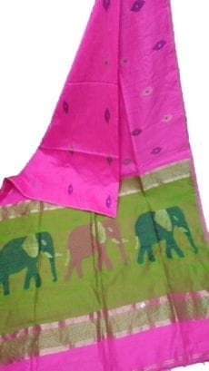 Dark Pink & Green Silk Cotton Saree With Jamdhani Design-yespoho