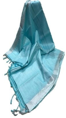 Sky Blue Cotton Salab Saree-yespoho
