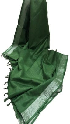 Dark Green Cotton Salab Saree-yespoho