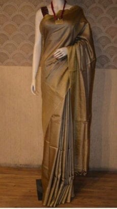 Brown Plain Patterned Tussar Munga Saree-yespoho