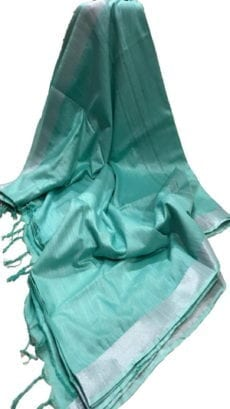 Aqua Blue Cotton Salab Saree-yespoho