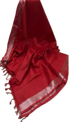 Dark Red Cotton Salab Saree-yespoho