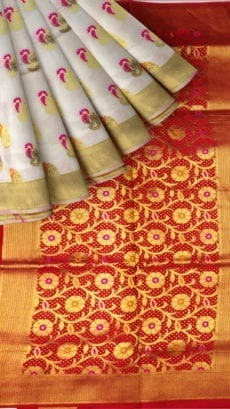 White & Red Soft Silk Saree-yespoho