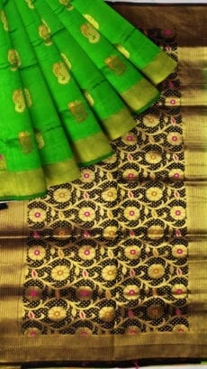 Parrot Green & Black Soft Silk Saree-yespoho