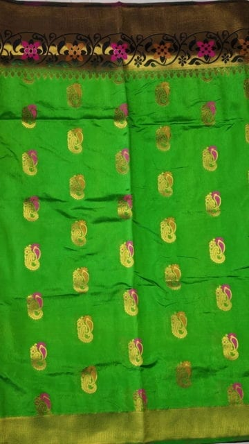 Yespoho Parrot Green & Black Soft Silk Saree