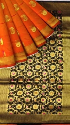 Orange & Black Soft Silk Saree-yespoho