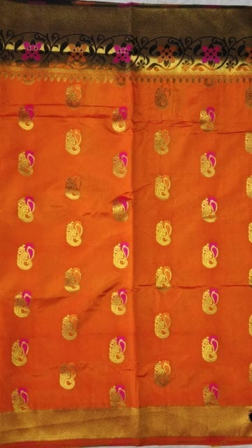 Yespoho Orange & Black Soft Silk Saree