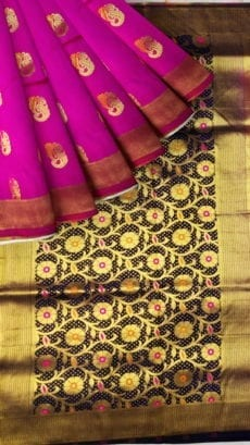 Pink & Blue Soft Silk Saree-yespoho