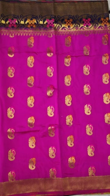Yespoho Pink & Blue Soft Silk Saree