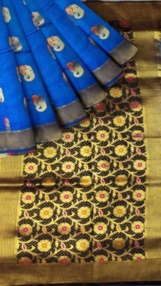 Sky Blue & Black Soft Silk Saree-yespoho