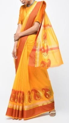 Dark Yellow & Orange Banarasi Ikkat Saree With Kairi Border-yespoho
